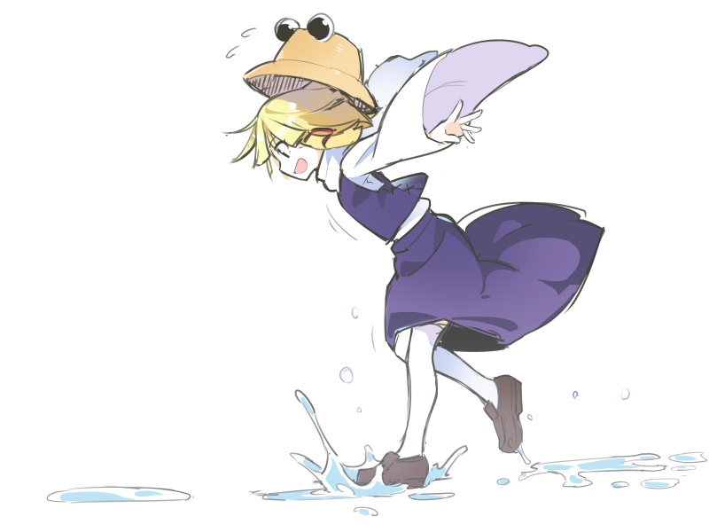 1girl :d asutora black_eyes blonde_hair brown_footwear commentary_request flying_sweatdrops from_side loafers long_sleeves moriya_suwako open_mouth outstretched_arms profile purple_skirt purple_vest shirt shoes short_hair simple_background skirt smile solo splashing thigh-highs touhou vest water white_background white_legwear white_shirt wide_sleeves