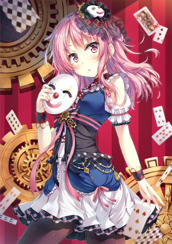1girl :o alternate_hairstyle bang_dream! bangs black_legwear blush braid card clown_mask commentary_request dress frilled_sleeves frills gears holding holding_mask karakuri_pierrot_(vocaloid) long_hair maruyama_aya mask mask_on_head pantyhose pink_eyes pink_hair pink_ribbon playing_card red_background ribbon short_sleeves shoulder_cutout solo striped striped_background striped_ribbon tomo_wakui vertical-striped_background vertical_stripes wrist_cuffs