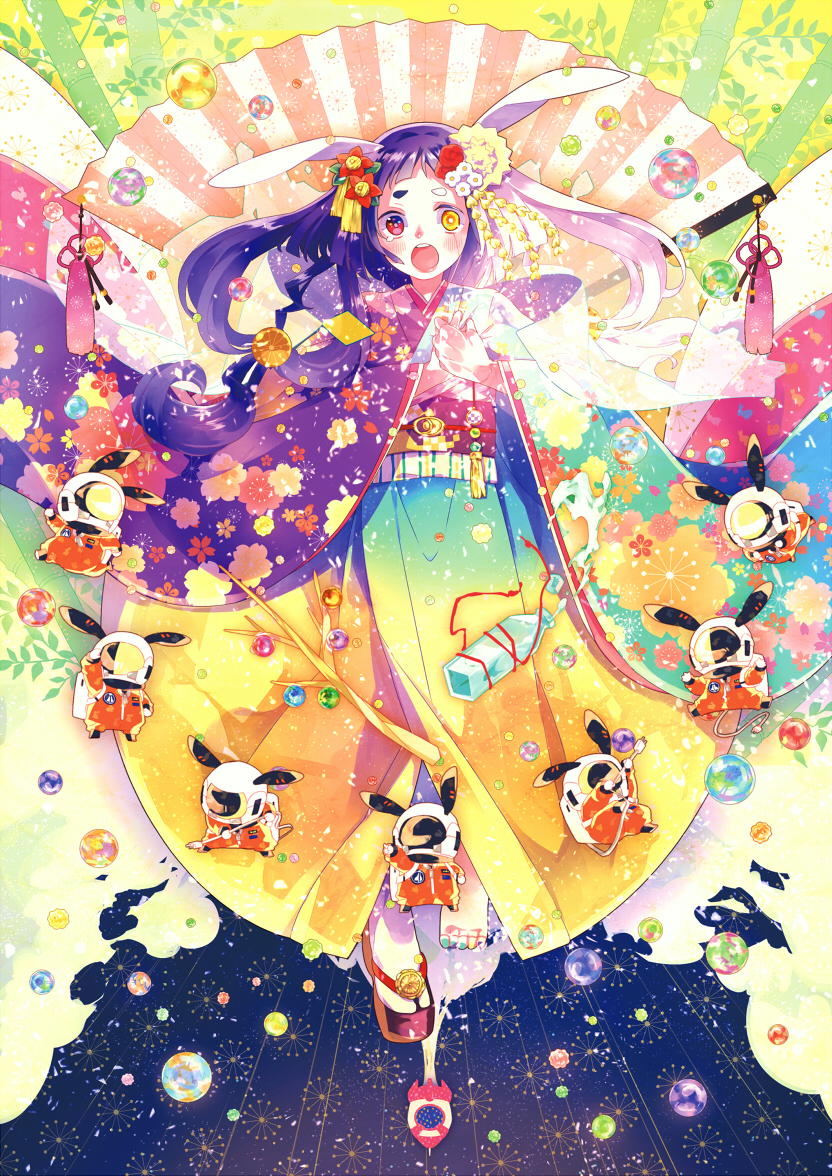 1girl animal_ears blush bow dress flower hair_bow hair_flower hair_ornament hair_ribbon hairclip hghrttm japanese_clothes kimono long_hair multicolored multicolored_clothes multicolored_dress multicolored_eyes multicolored_hair open_mouth original ribbon space yukata