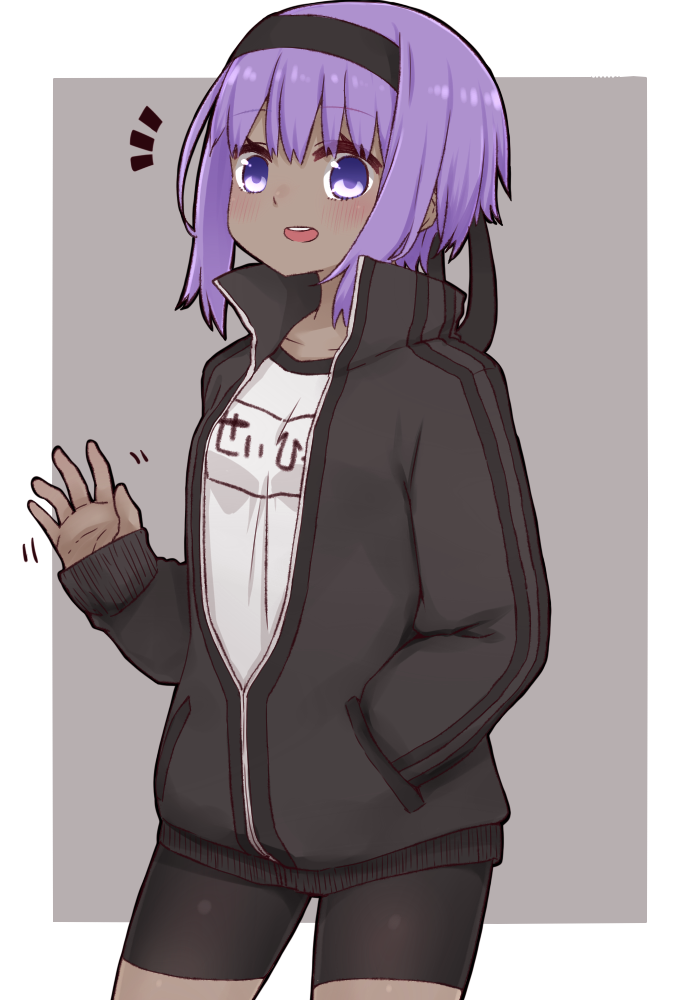 1girl :d bike_shorts black_hairband black_jacket black_shorts blush collarbone cowboy_shot dark_skin fate/prototype fate/prototype:_fragments_of_blue_and_silver fate_(series) grey_background gym_shirt hairband hand_in_pocket hand_up hassan_of_serenity_(fate) i.u.y jacket long_sleeves looking_at_viewer name_tag notice_lines open_clothes open_jacket open_mouth purple_hair shirt short_shorts shorts sleeves_past_wrists smile solo track_jacket two-tone_background upper_teeth violet_eyes white_background white_shirt