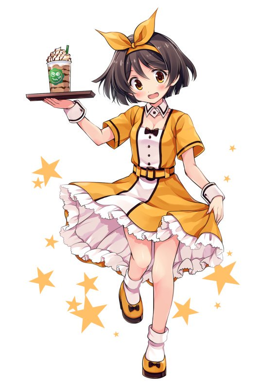 1girl alternate_color alternate_costume bow brown_hair dessert detached_collar dress dress_lift food full_body green_footwear hairband kantai_collection odawara_hakone short_hair short_sleeves simple_background socks solo standing star starry_background tanikaze_(kantai_collection) two-tone_dress waitress white_background white_legwear wrist_cuffs yellow_dress yellow_eyes yellow_footwear