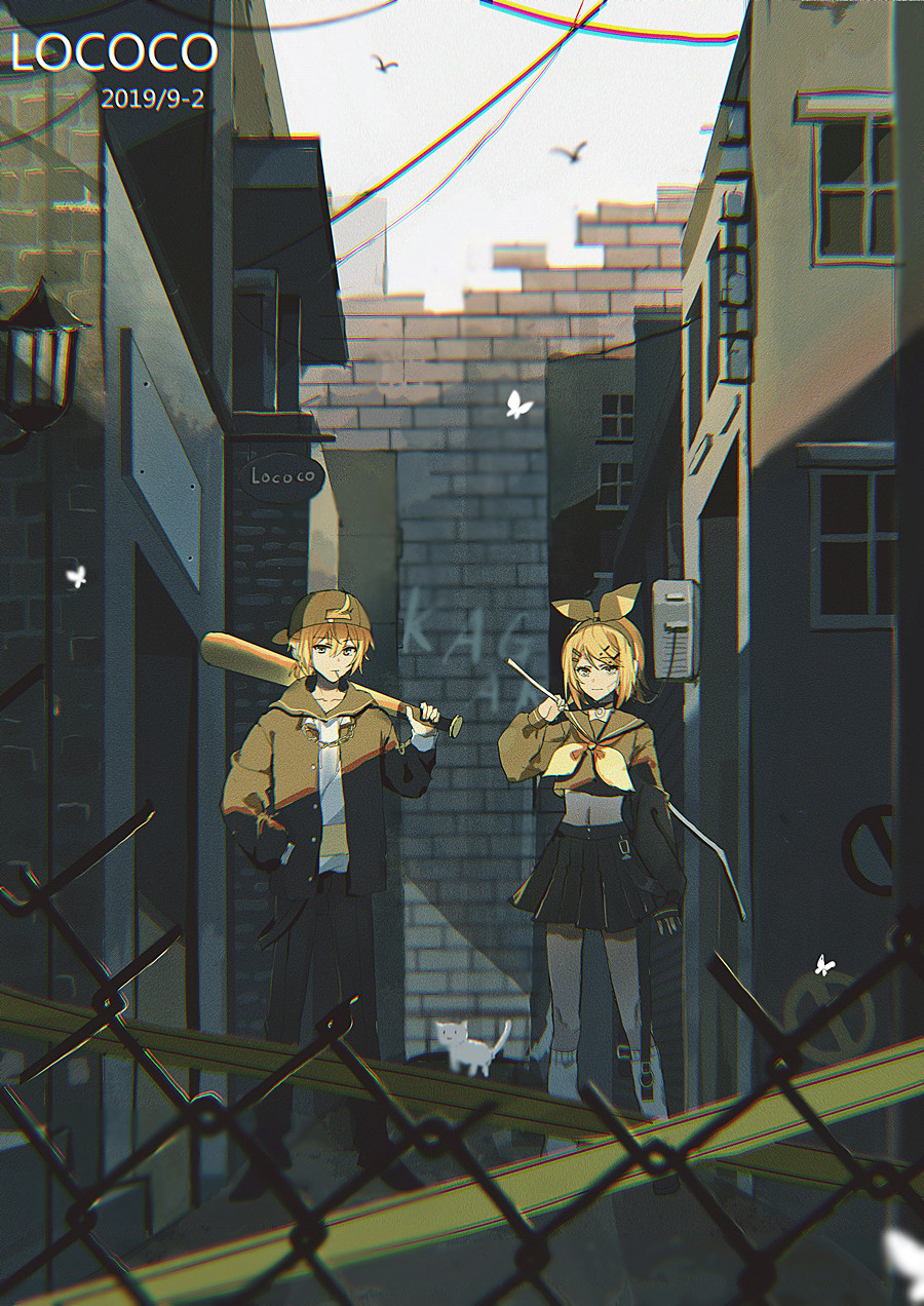 1boy 1girl 2019 :3 alley artist_name backwards_hat baseball_bat baseball_cap belt bird black_bow black_sailor_collar black_shirt blonde_hair blurry blurry_foreground bow brick_wall brother_and_sister cable cat caution_tape chain crop_top crowbar dated depth_of_field fence graffiti hair_bow hair_ornament hairclip hand_in_pocket hat highres holding holding_weapon hood hooded_jacket jacket kagamine_len kagamine_rin lamppost lococo:p long_sleeves looking_at_viewer midriff muted_color navel over_shoulder pleated_skirt rettou_joutou_(vocaloid) sailor_collar shirt short_hair siblings signature skirt socks twins vocaloid weapon weapon_over_shoulder white_butterfly white_cat white_legwear window yellow_neckwear