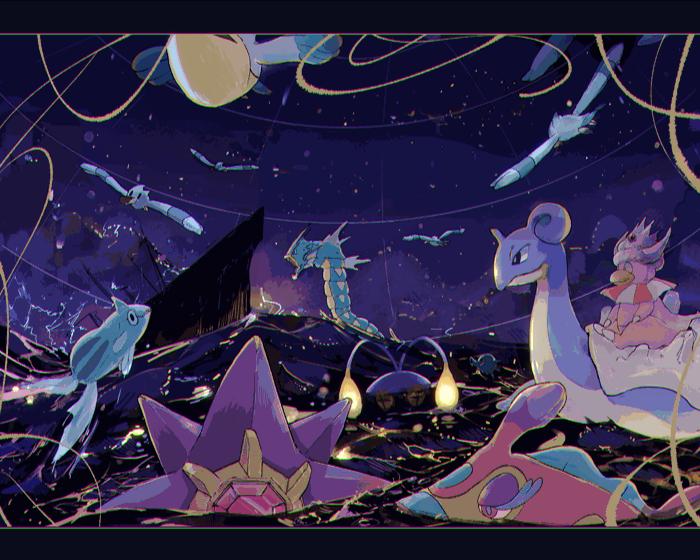 awai_(pixiv29777040) bruxish chinchou gen_1_pokemon gen_2_pokemon gen_3_pokemon gyarados horsea lapras no_humans ocean pokemon pokemon_(creature) purple_sky remoraid ship sinking slowking starmie watercraft waves