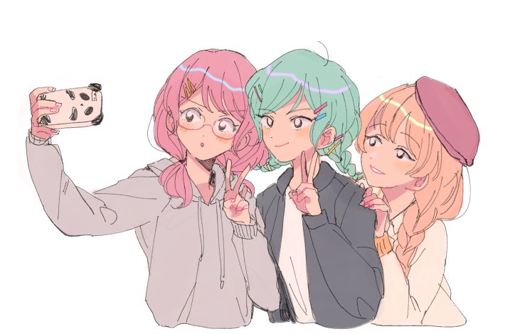 3girls alternate_hairstyle bang_dream! bangs beret bespectacled black_jacket blonde_hair braid cellphone cropped_torso glasses green_hair grey_hoodie grin group_picture hair_ornament hair_over_shoulder hairclip hairpin hand_on_another's_shoulder hat hikawa_hina hood hood_down jacket long_sleeves low_twintails maruyama_aya multiple_girls phone pink_hair red-framed_eyewear red_headwear res2shuu self_shot shirasagi_chisato shirt simple_background single_braid smartphone smile taking_picture twin_braids twintails upper_body white_background white_shirt