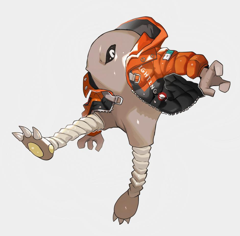 arm_up barefoot black_sclera bottomless claws clothed_pokemon clothes_writing commentary_request english_text full_body gen_1_pokemon grey_background hitmonlee hood hoodie jacket jpeg_artifacts jumping leg_up long_sleeves looking_to_the_side newo_(shinra-p) no_humans no_mouth orange_jacket pokemon pokemon_(creature) shiny shiny_skin simple_background solo white_eyes zipper