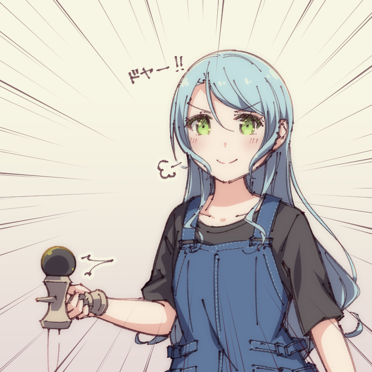 >:) 1girl =3 aqua_hair ayasaka bang_dream! beige_background black_sash commentary_request doyagao emphasis_lines green_eyes hikawa_sayo kendama kudou_haruka_(seiyuu) long_hair looking_at_viewer overalls photo-referenced seiyuu_connection short_sleeves solo upper_body