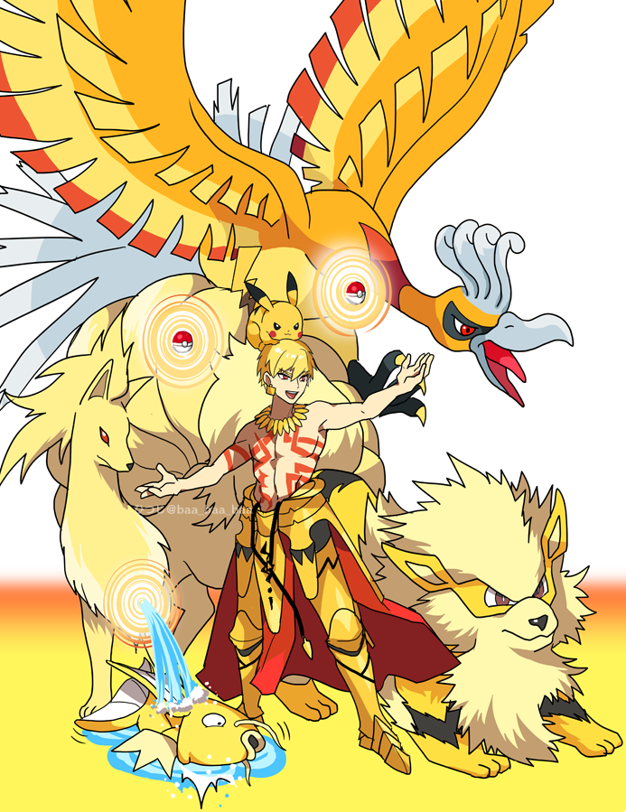 1boy :3 alternate_color arcanine arm_up armored_boots artist_name bangs black_eyes blonde_hair blush_stickers boots brown_eyes chest_tattoo claws closed_mouth commentary_request crossover earrings fate/stay_night fate_(series) full_body gate_of_babylon gen_1_pokemon gen_2_pokemon gilgamesh gradient gradient_background hair_between_eyes happy ho-oh jewelry legendary_pokemon lying magikarp male_focus navel necklace ninetales on_side open_mouth outstretched_arms pikachu poke_ball poke_ball_(generic) pokemon pokemon_(creature) puddle red_eyes sakura_hitsuji shiny shiny_hair shiny_pokemon shirtless short_hair simple_background smile standing tattoo telekinesis tongue twitter_username waist_cape water watermark yellow_footwear