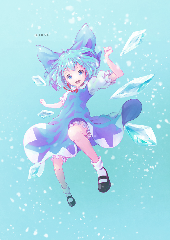 1girl black_footwear blue_background blue_bow blue_dress blue_eyes blue_hair bow character_name cirno commentary dress hair_bow ice ice_wings mary_janes open_mouth puffy_short_sleeves puffy_sleeves red_bow satyuas shirt shoes short_sleeves smile socks solo touhou white_legwear white_shirt wings