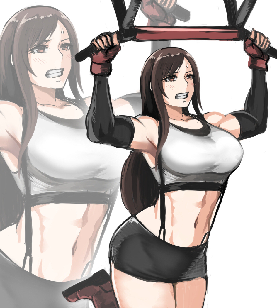 1girl bar bare_shoulders black_skirt breasts clenched_teeth elbow_pads elbow_sleeve final_fantasy final_fantasy_vii final_fantasy_vii_remake fingerless_gloves gloves large_breasts long_hair low-tied_long_hair midriff muscle muscular_female navel pencil_skirt pullups red_gloves shibusun shirt skirt suspender_skirt suspenders sweatdrop tank_top taut_clothes taut_shirt teeth thighs tifa_lockhart