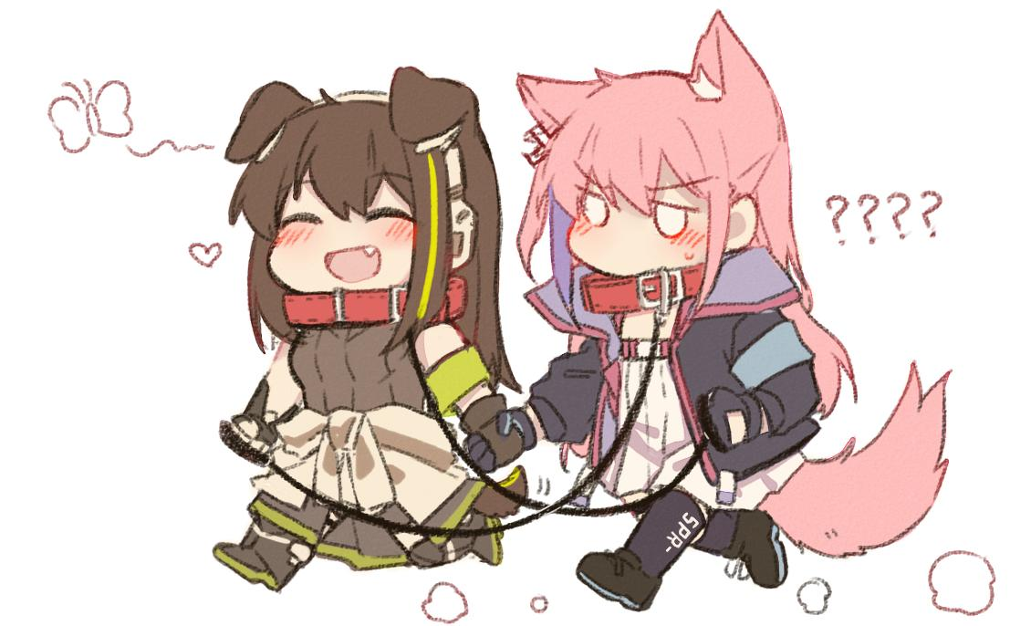 2girls animal_ears armband black_gloves blush brown_gloves brown_hair chibi closed_eyes clothes_around_waist collar dog_ears dog_tail eyebrows_visible_through_hair fang girls_frontline gloves green_hair holding_hands jacket leash long_hair m4a1_(girls_frontline) multiple_girls open_mouth pink_hair shoes simple_background st_ar-15_(girls_frontline) tail walking white_background yuutama2804
