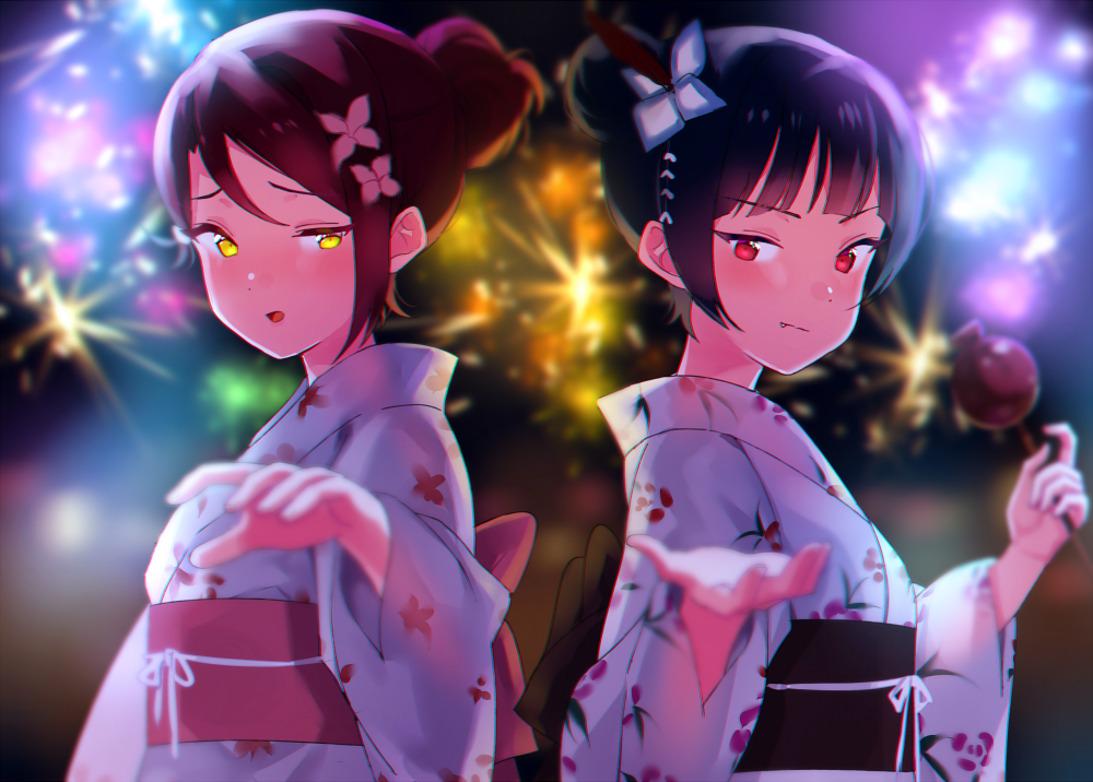 2girls :o alternate_hairstyle back_bow blue_flower blue_hair blurry bow candy_apple depth_of_field fang feathers festival fireworks flower food hair_bun hair_feathers hair_flower hair_ornament hair_up holding holding_food japanese_clothes kimono looking_at_viewer love_live! love_live!_sunshine!! multiple_girls night obi outdoors outstretched_hand pink_flower red_eyes redhead sakurauchi_riko sash sellel tsushima_yoshiko upper_body v-shaped_eyebrows yellow_eyes