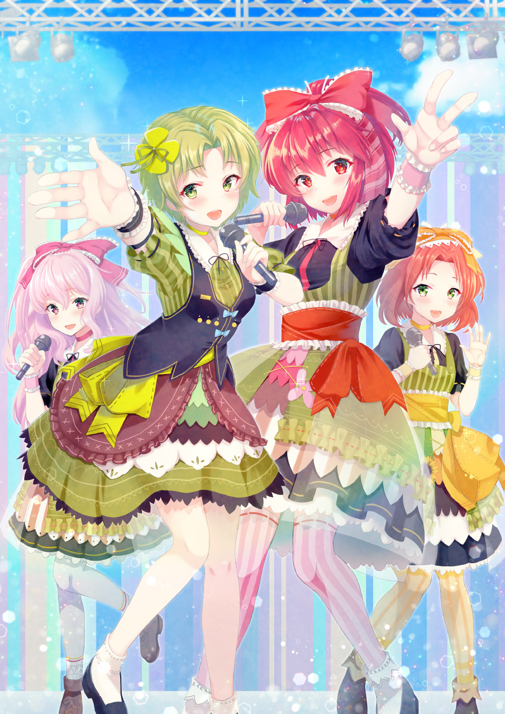 4girls bangs black_vest bow clover_hair_ornament copyright_request dress green_dress green_eyes green_hair hair_bow hair_ornament hands_up highres holding holding_microphone idol indoors long_hair microphone multiple_girls official_art open_mouth orange_bow parted_bangs pink_bow pink_legwear red_bow red_eyes redhead see-through socks stage standing striped striped_legwear thigh-highs v vesper_(pixiv3568) vest white_legwear wristband yellow_legwear