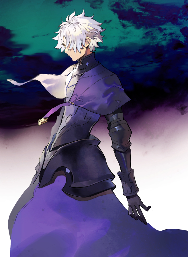 1boy ahoge armor black_armor black_gloves cape closed_mouth fate/grand_order fate_(series) galahad_(fate) gloves hair_between_eyes hair_over_one_eye itefu knight looking_away male_focus purple_cape short_hair spiky_hair white_hair yellow_eyes