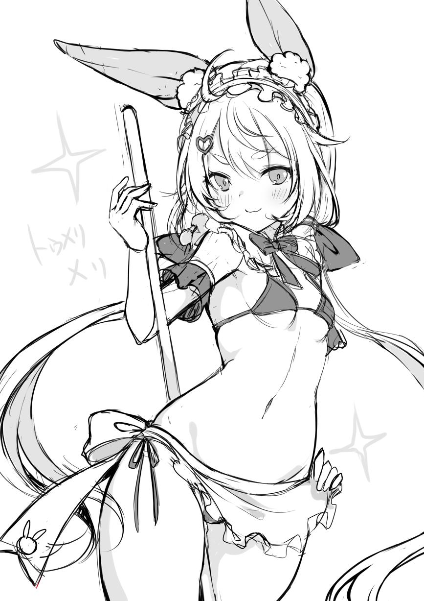 1girl ahoge animal_ear_fluff animal_ears apron arm_up bikini breasts hair_ornament hairclip hand_on_hip highres long_hair low_twintails lowleg lowleg_bikini maid maid_headdress mashiro_aa monochrome navel rabbit_ears side-tie_bikini simple_background sketch small_breasts smile solo swimsuit tomari_mari tomari_mari_channel twintails very_long_hair virtual_youtuber waist_apron white_background