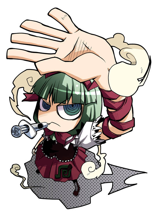 bow dress drugs foreshortening front_ponytail green_eyes green_hair hair_bow hands kagiyama_hina kannaduki kannaduki_hato kannazuki_hato long_hair looking_up needle ringed_eyes shadow simple_background smoke spiral syringe touhou
