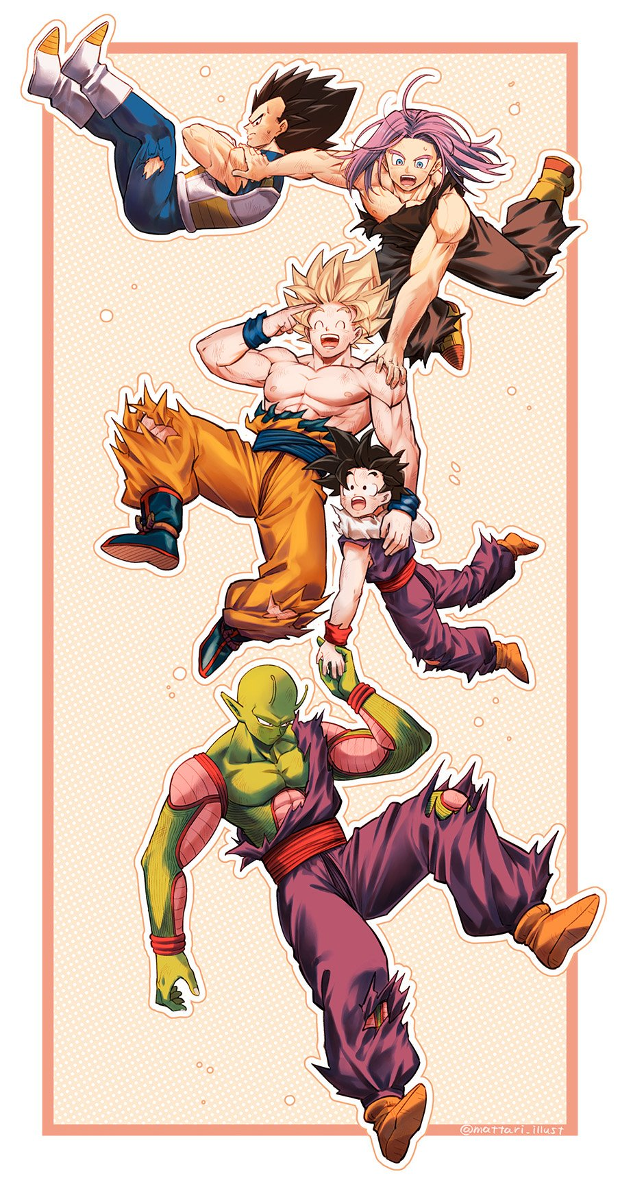 5boys ^_^ annoyed antennae armor black_eyes black_hair blonde_hair blue_eyes boots border bruise bubble bubble_background closed_eyes crossed_arms d: dirty dirty_clothes dirty_face dragon_ball dragon_ball_z expressionless falling father_and_son finger_on_forehead fingernails floating_hair frown full_body hand_on_another's_shoulder happy highres holding_hands injury long_hair looking_at_another looking_away looking_down looking_up male_focus mattari_illust multiple_boys nipples open_mouth outside_border pants pectorals piccolo pink_background polka_dot polka_dot_background profile purple_hair serious shirt shirtless simple_background son_gohan son_gokuu spiky_hair super_saiyan sweatdrop teeth torn_clothes torn_legwear torn_pants torn_shirt trunks_(future)_(dragon_ball) twitter_username two-tone_background upper_teeth vegeta white_background white_footwear wristband yellow_footwear