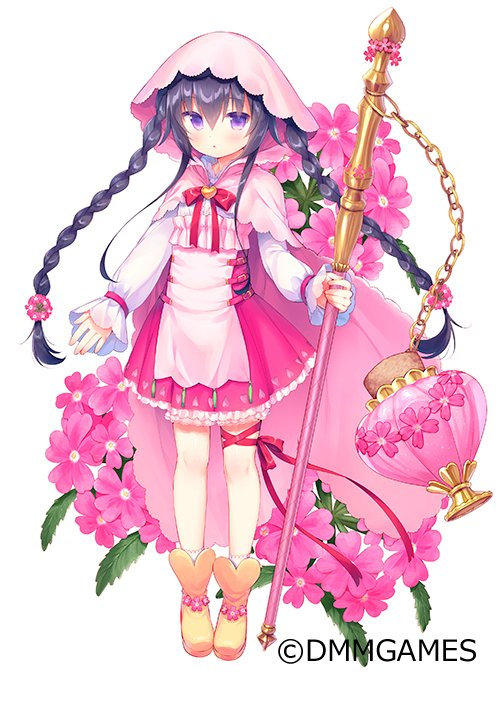1girl :o apron bangs black_hair blush boots braid brown_footwear commentary_request eyebrows_visible_through_hair flower flower_knight_girl frilled_skirt frills full_body hair_between_eyes heart holding long_hair long_sleeves looking_at_viewer object_namesake official_art parted_lips pink_apron pink_flower puffy_long_sleeves puffy_sleeves purple_skirt shirt sidelocks simple_background skirt sleeves_past_wrists socks solo twin_braids usashiro_mani verbena_(flower_knight_girl) very_long_hair violet_eyes watermark white_background white_legwear white_shirt