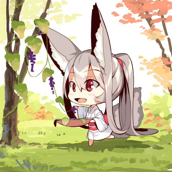 1girl :d absurdly_long_hair animal_ear_fluff animal_ears bangs barefoot blush bowl chibi day eyebrows_visible_through_hair food fox_ears fox_girl fox_tail fruit full_body grapes hair_between_eyes holding holding_bowl japanese_clothes kimono long_hair long_sleeves obi on_grass open_mouth original outdoors red_eyes sash silver_hair smile solo standing standing_on_one_leg tail tail_raised tree very_long_hair white_kimono wide_sleeves yuuji_(yukimimi)