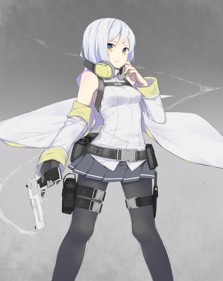 1girl bangs bare_shoulders belt black_legwear breasts desert_eagle detached_sleeves fhang gloves grey_background gun handgun headphones headphones_around_neck holding holding_gun holding_weapon knige long_sleeves looking_at_viewer medium_breasts miniskirt original pantyhose parted_lips pistol sheath silver_hair simple_background single_glove skirt solo standing thigh_strap weapon yellow_eyes