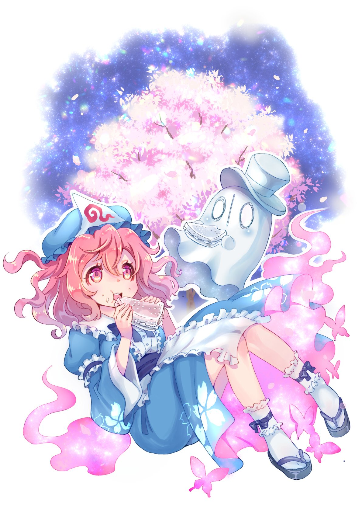 1girl blue_neckwear blush bug butterfly cherry_blossoms eating floral_print food food_in_mouth food_on_face frilled_kimono frills ghost hat highres holding holding_food insect japanese_clothes kimono mob_cap napstablook obi open_mouth pink_eyes pink_hair saigyouji_yuyuko sandwich sash short_hair top_hat touhou transparent tree triangular_headpiece undertale wavy_hair wide_sleeves yugaiga