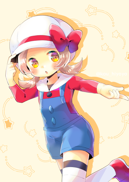 1girl beige_background bow brown_eyes brown_hair cabbie_hat collared_shirt colored_shadow commentary_request drop_shadow hand_on_headwear hand_up hat hat_bow kotone_(pokemon) kouu_hiyoyo long_hair long_sleeves low_twintails outstretched_arm overall_shorts parted_lips pokemon_masters red_bow red_footwear red_shirt shadow shirt shoes solo standing standing_on_one_leg star thigh-highs twintails white_headwear white_legwear