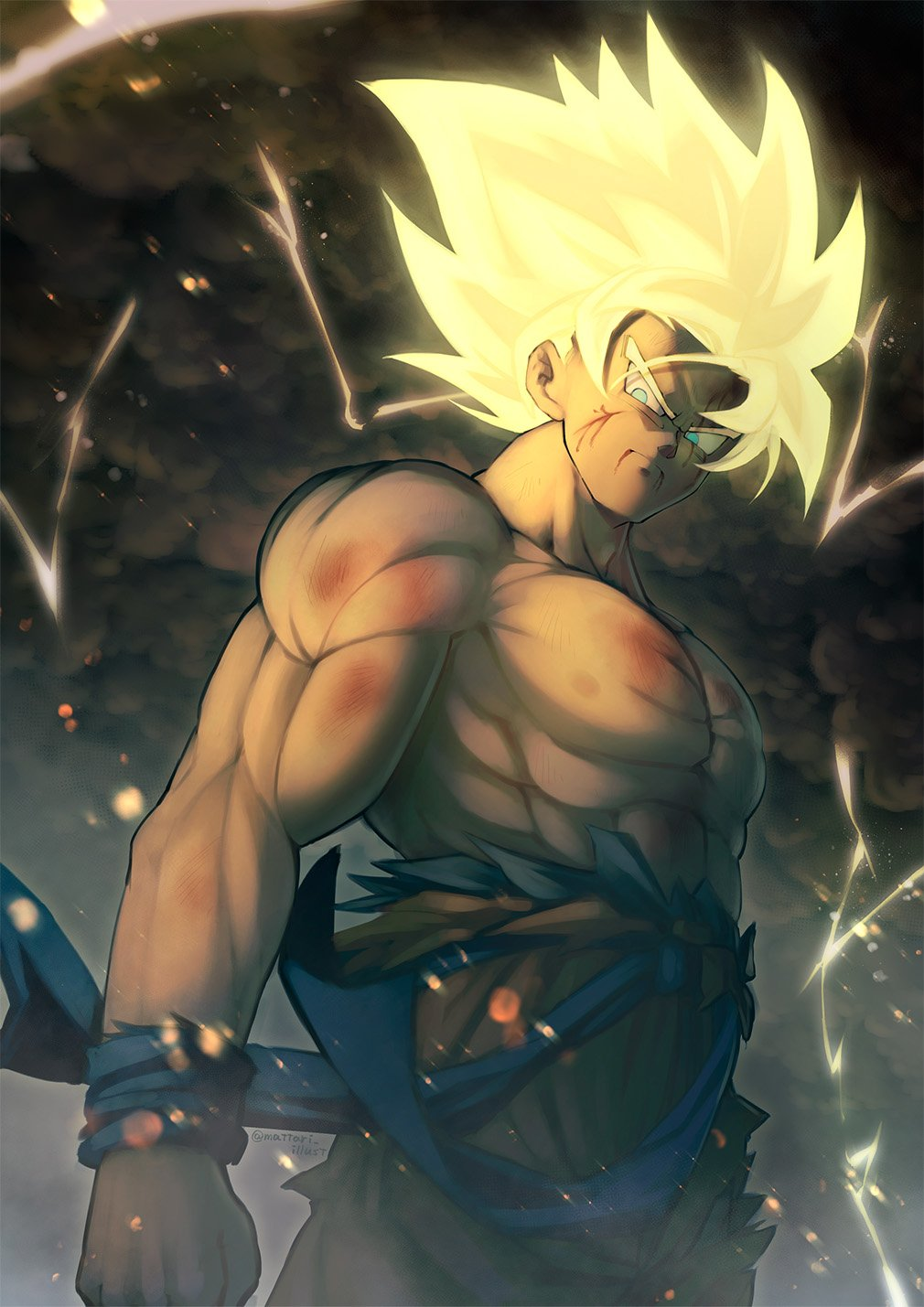 1boy abs aqua_eyes arm_at_side blonde_hair blood blood_from_mouth blood_on_face blurry blurry_foreground bokeh bruise chest clenched_hand clothes_lift clouds cloudy_sky dark_clouds dark_sky depth_of_field dougi dragon_ball dragon_ball_z electricity frown glowing glowing_hair highres injury lightning lightning_bolt looking_away male_focus mattari_illust muscle outdoors serious shaded_face shirt shirtless sky son_gokuu standing super_saiyan torn_clothes torn_shirt twitter_username upper_body wind wind_lift