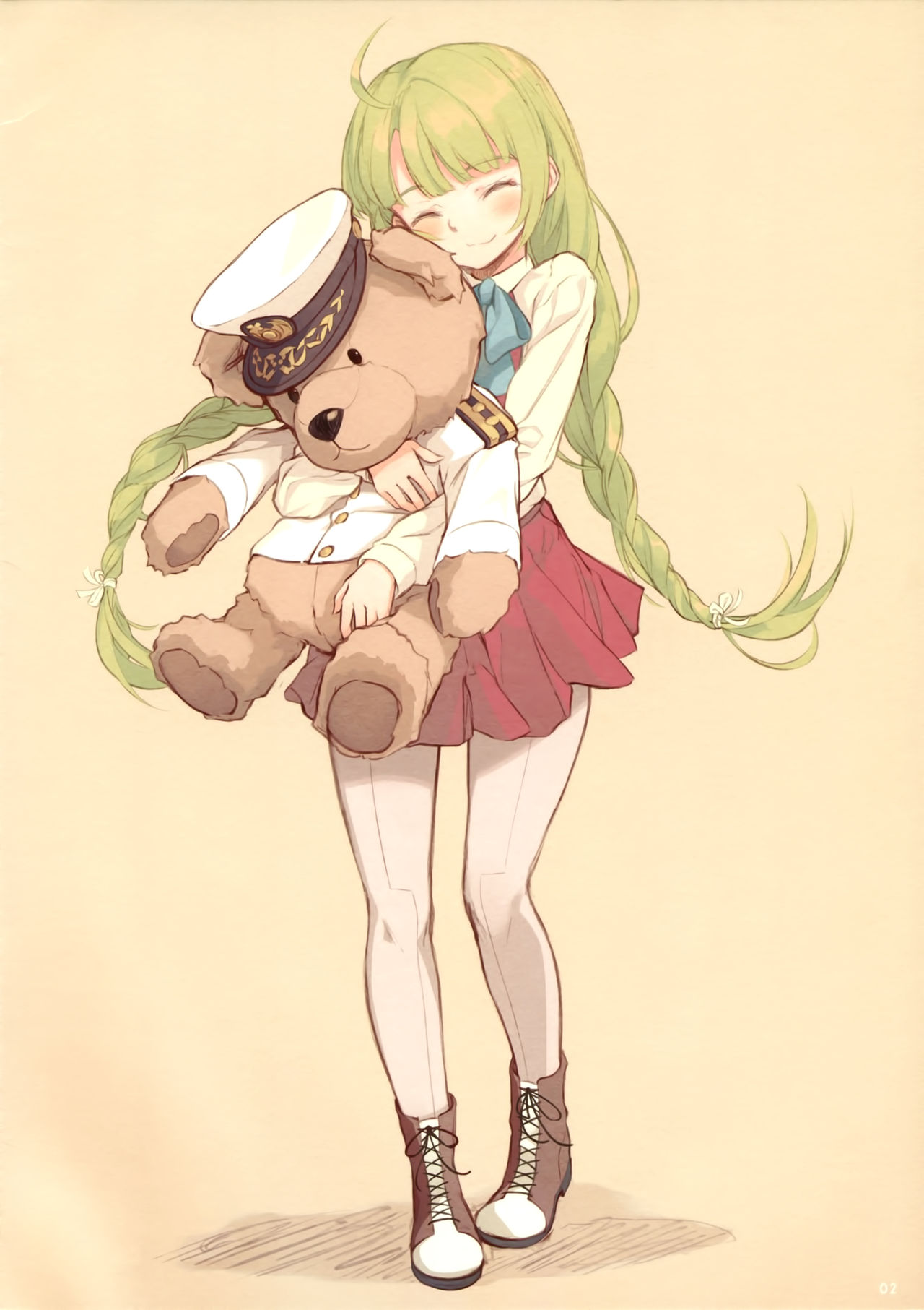 1girl blouse blush boots bow bowtie braid closed_eyes closed_mouth cross-laced_footwear dress epaulettes eyebrows_visible_through_hair full_body green_hair grey_legwear hat highres kantai_collection lace-up_boots long_hair long_sleeves military military_uniform naval_uniform pantyhose peaked_cap pleated_skirt purple_skirt scan school_uniform shirt single_braid skirt smile supertie toy uniform very_long_hair white_blouse white_shirt yuugumo_(kantai_collection)