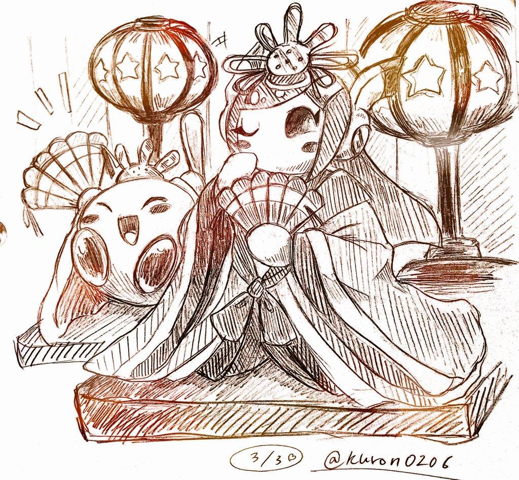 1boy 1girl fan japanese_clothes kimono kirby kirby:_planet_robobot kirby_(series) star susie_(kirby)