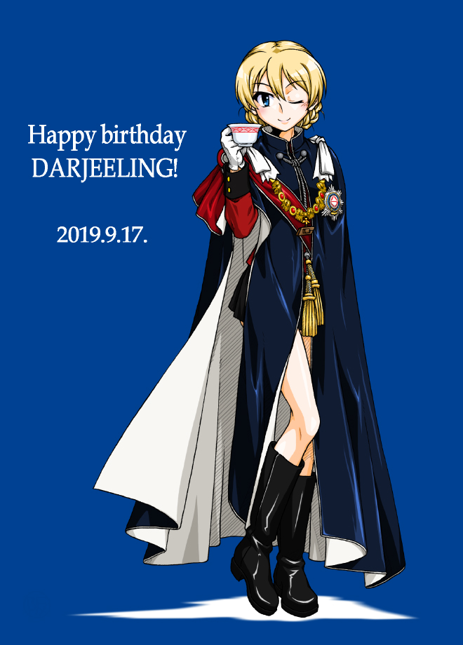 1girl ;) bangs black_footwear black_robe black_skirt blue_background blue_eyes boots braid capelet character_name closed_mouth commentary_request cup darjeeling dated english_text eyebrows_visible_through_hair formal full_body girls_und_panzer happy_birthday jacket long_sleeves looking_at_viewer medallion military military_uniform miniskirt one_eye_closed oosaka_kanagawa pleated_skirt red_capelet red_jacket robe sash saucer short_hair skirt smile solo st._gloriana's_military_uniform standing teacup tied_hair twin_braids uniform