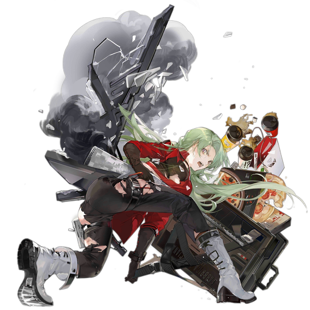 1girl alternate_costume angry animal_ears antlers ass black_gloves black_legwear black_pants boots christmas debris denim facial_mark fake_animal_ears fp-6_(girls_frontline) gift girls_frontline gloves green_hair ground_vehicle jacket jeans long_hair long_pants looking_at_viewer motor_vehicle nineo official_art open_mouth pants red_jacket scooter solo star torn_clothes torn_jacket very_long_hair white_footwear