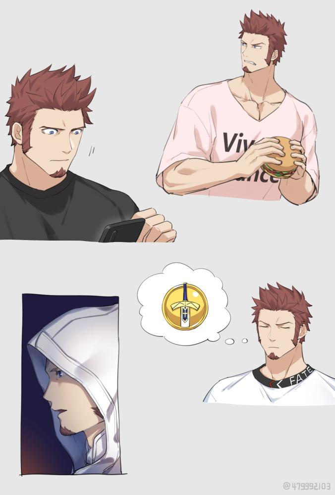 1boy 47_(479992103) beard black_shirt blue_eyes brown_hair casual collage eating facial_hair fate/grand_order fate_(series) food hamburger hood hood_up hoodie long_sleeves looking_to_the_side male_focus muscle napoleon_bonaparte_(fate/grand_order) phone pink_shirt shirt solo thinking upper_body