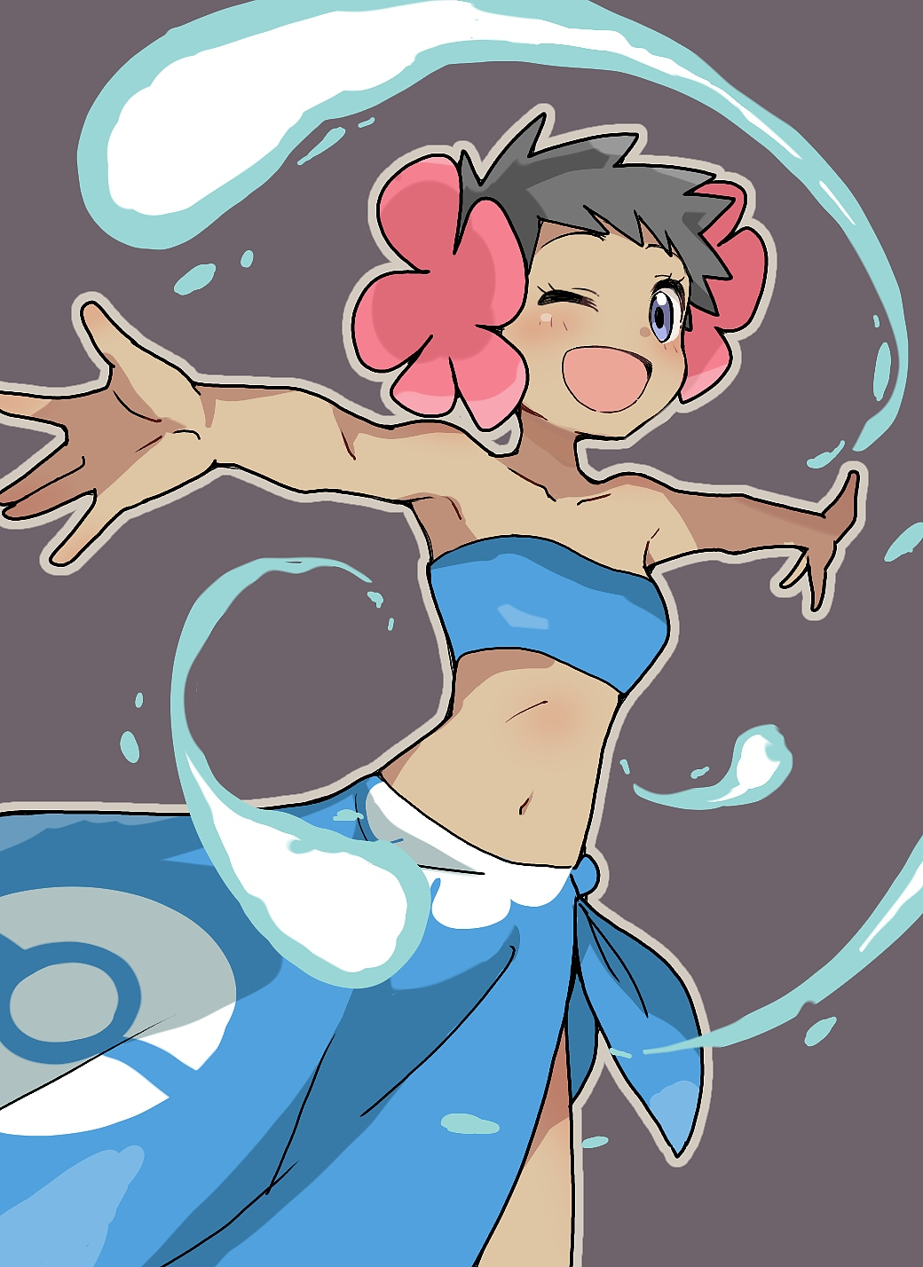 1girl arms_up bangs bare_shoulders black_hair blue_hair blue_sarong blush breasts brown_outline collarbone dark_skin ddak5843 flower fuyou_(pokemon) grey_background gym_leader hair_flower hair_ornament happy highres looking_at_viewer midriff navel one_eye_closed open_mouth outline outstretched_arms pink_flower poke_ball_symbol poke_ball_theme pokemon pokemon_(game) pokemon_rse sarong short_hair simple_background small_breasts smile solo spread_arms standing strapless tubetop