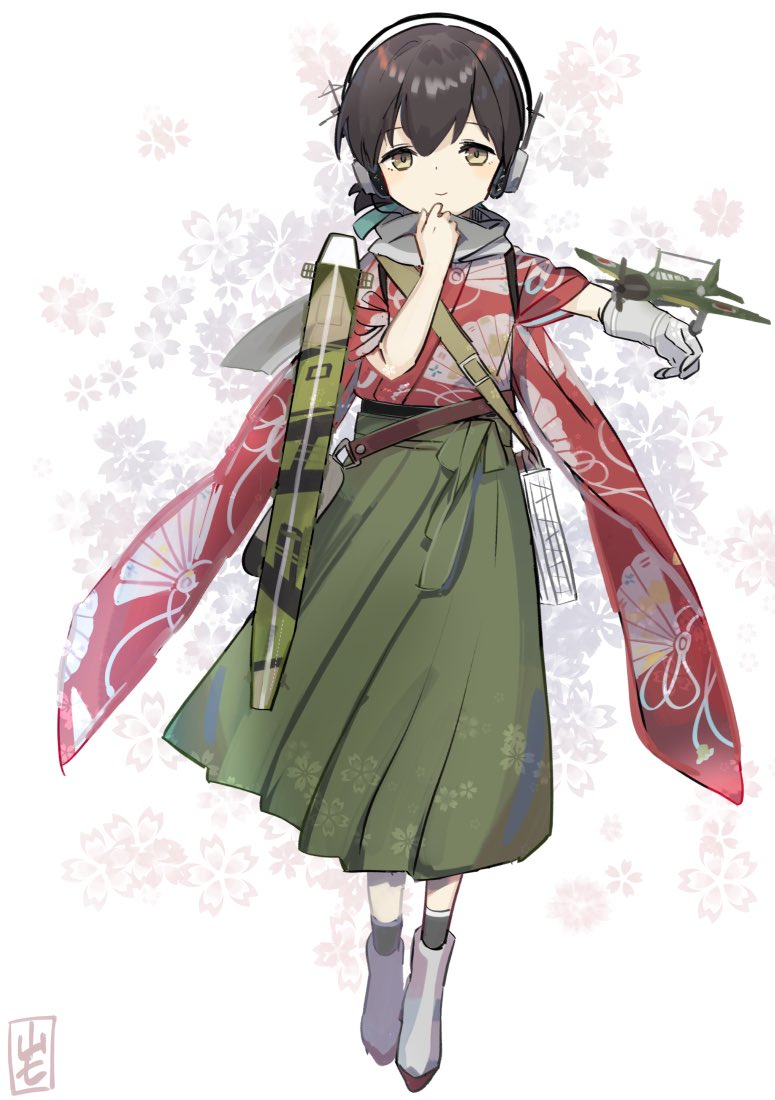 1girl bangs black_hair black_legwear blue_ribbon brown_eyes camouflage dougi fan_print flight_deck folded_ponytail full_body gloves green_hakama grey_gloves grey_scarf hair_ribbon hakama hakama_skirt headphones japanese_clothes kantai_collection kasuga_maru_(kantai_collection) kimono long_hair machinery print_kimono red_kimono ribbon scarf single_glove socks solo swept_bangs taiyou_(kantai_collection) tareme white_background yamashiki_(orca_buteo)