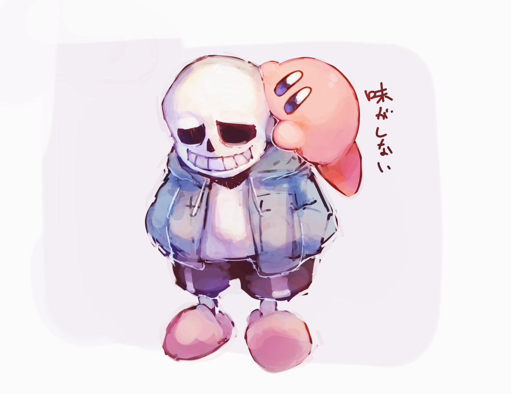 1boy 1other blue_eyes bone grin hal_laboratory_inc. hood hoodie hoshi_no_kirby jacket kirby kirby_(series) male_focus nintendo open_mouth pink_puff_ball sans shiburingaru shirt shorts simple_background skeleton slippers smile sora_(company) super_smash_bros. teeth toby_fox_(publisher) undertale