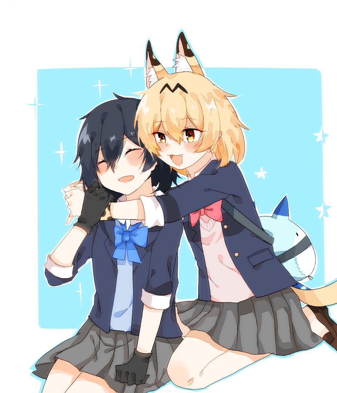 2girls :3 alternate_costume animal_ear_fluff animal_ears bare_legs black_gloves blonde_hair blue_neckwear blue_sweater blush bow bowtie closed_eyes commentary_request extra_ears eyebrows_visible_through_hair fang gloves grey_skirt highres hug jacket kaban_(kemono_friends) kemono_friends loafers lucky_beast_(kemono_friends) luki1192759520 multiple_girls navy_blue_jacket no_hat no_headwear open_mouth pink_sweater pleated_skirt red_neckwear school_uniform serval_(kemono_friends) serval_ears serval_tail shoes short_hair short_sleeves sitting skirt sweater tail yellow_eyes