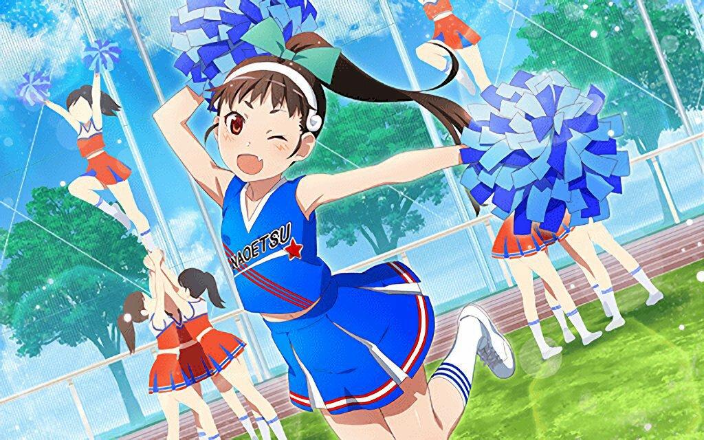 6+girls alternate_costume alternate_hairstyle blue_skirt bow cheerleader green_bow hachikuji_mayoi jumping kneehighs monogatari_(series) monogatari_series_puc_puc multiple_girls pom_poms ponytail pose skirt