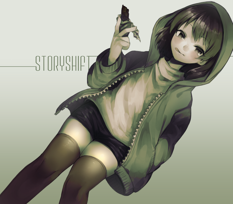 ;d alternate_costume androgynous bangs black_shorts brown_hair chara_(undertale) chocolate commentary_request eyebrows_visible_through_hair feet_out_of_frame grey_background hand_in_pocket hood hood_up hoodie long_sleeves looking_at_viewer one_eye_closed open_clothes open_hoodie open_mouth oshiruko_(tsume) red_eyes shirt short_hair shorts simple_background smile solo storyshift thigh-highs undertale unzipped white_shirt