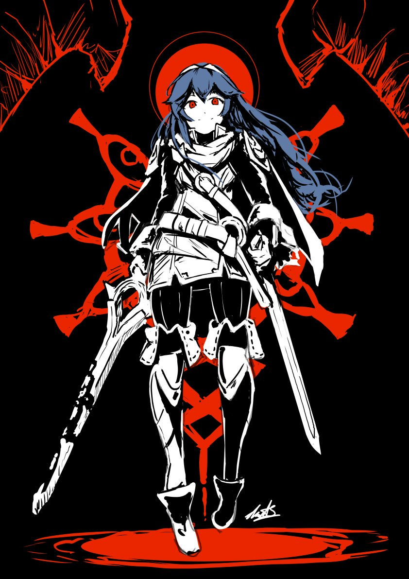 1girl armor artist_request blue_eyes blue_hair cape creepy falchion_(fire_emblem) fingerless_gloves fire_emblem fire_emblem:_kakusei fire_emblem_awakening fire_emblem_heroes gimurei gloves grima_(fire_emblem) hair_between_eyes intelligent_systems long_hair looking_at_viewer lucina lucina_(fire_emblem) nintendo simple_background smile super_smash_bros. sword tiara weapon