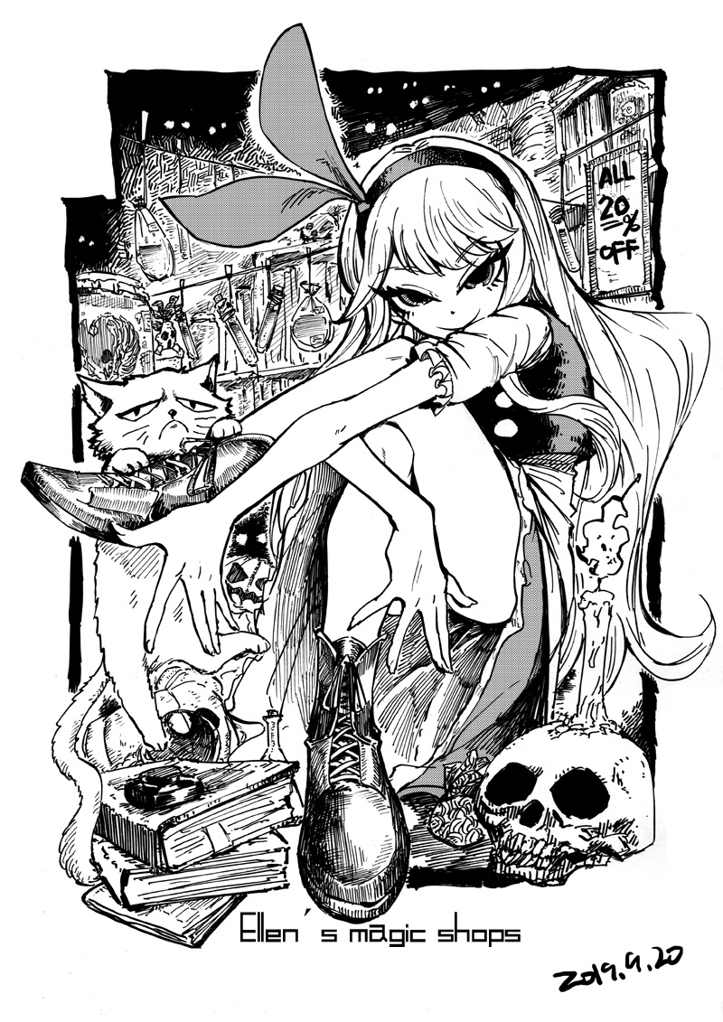 1girl animal ankle_boots bare_legs blackcat_(pixiv) book book_stack bookmark boots candle cat cork cross-laced_footwear crossed_legs dated dress ellen english_text erlenmeyer_flask eyebrows_visible_through_hair frilled_sleeves frills greyscale grumpy_cat headband jack-o'-lantern lace-up_boots long_hair looking_at_viewer monochrome pumpkin short_sleeves sign skull tagme test_tube touhou touhou_(pc-98) tsurime