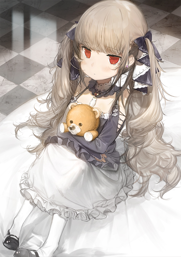 1girl azur_lane bangs bare_shoulders black_footwear black_ribbon blunt_bangs bridal_gauntlets child closed_mouth commentary_request dress earrings expressionless eyebrows_visible_through_hair formidable_(azur_lane) frilled_dress frilled_skirt frills gothic_lolita grey_hair hair_ribbon holding holding_stuffed_animal huge_filesize jewelry jitome knees_up lolita_fashion long_hair long_skirt long_sleeves looking_at_viewer mary_janes red_eyes ribbon shoes sitting skirt solo stuffed_animal stuffed_toy teddy_bear tile_floor tiles twintails very_long_hair watarumi white_legwear younger