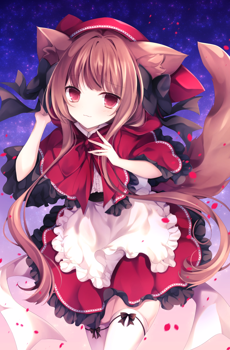 1girl animal_ears apron bangs black_bow blush bow brown_hair commentary_request dog_ears dog_tail dress hood hood_up kurumi_mashiro long_hair looking_at_viewer original red_bow red_dress red_eyes red_hood solo tail thigh-highs white_apron white_legwear