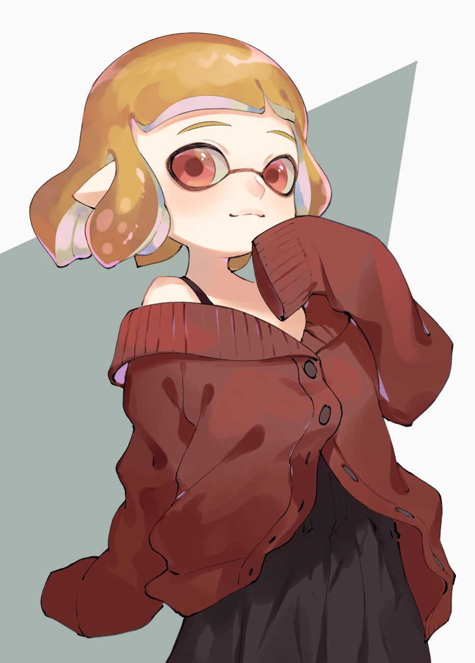 1girl bangs black_dress blunt_bangs buttons dress highres inkling long_sleeves nintendo orange_hair oversized_clothes pointy_ears red_eyes red_shirt shirt short_hair simple_background splatoon_(series) squid tagme tentacle_hair yamagishi_chihiro