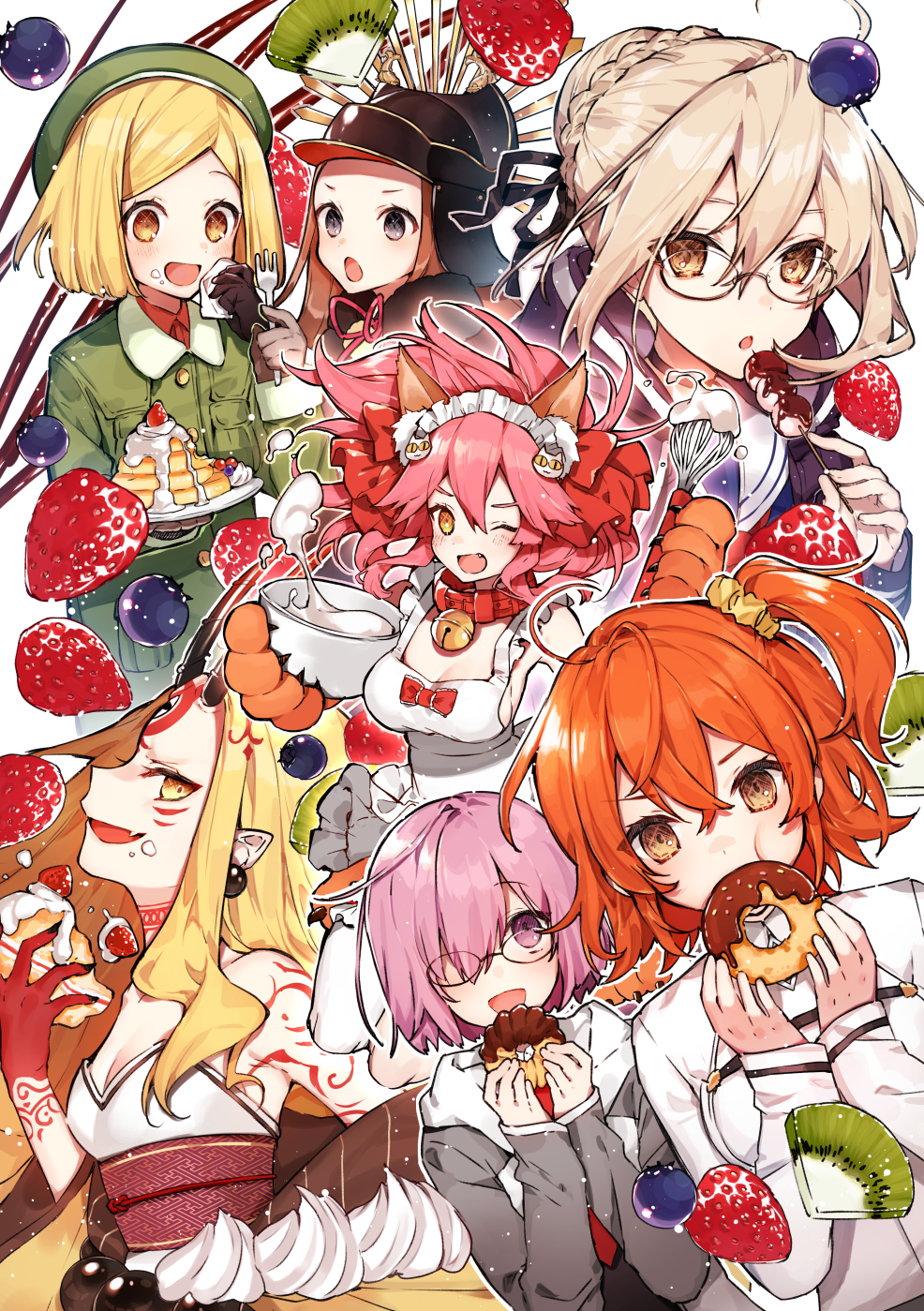6+girls ahoge animal_ear_fluff animal_ears apron artoria_pendragon_(all) bangs bare_shoulders bell bell_collar beret black-framed_eyewear black_dress blonde_hair blueberry blush bow bowl braid breasts brown_hair cake cat_hair_ornament cat_paws chacha_(fate/grand_order) chaldea_uniform coat collar cream dango doughnut dress duffel_coat earrings eating facial_mark family_crest fang fate/extra fate/grand_order fate_(series) fingernails food forehead forehead_mark fork fox_ears fox_girl french_braid fruit fujimaru_ritsuka_(female) glasses gloves green_coat green_headwear grey_eyes grey_jacket hair_between_eyes hair_bow hair_bun hair_ornament hair_over_one_eye hair_scrunchie hanakeda_(hanada_shiwo) hat helmet highres hood hooded_coat hooded_jacket horns ibaraki_douji_(fate/grand_order) jacket japanese_clothes jewelry jingle_bell kimono kiwifruit koha-ace large_breasts lavender_hair long_hair long_sleeves looking_at_viewer maid_headdress mash_kyrielight medium_breasts multiple_girls mysterious_heroine_x_(alter) naked_apron napkin necktie obi oda_uri one_eye_closed one_side_up oni oni_horns open_clothes open_coat open_mouth orange_eyes orange_hair pancake parted_bangs paul_bunyan_(fate/grand_order) paw_gloves paws pink_hair pointy_ears ponytail purple_jacket red_bow sash scrunchie semi-rimless_eyewear sharp_fingernails shirt short_hair side_ponytail sidelocks simple_background skewer slice_of_cake small_breasts smile strawberry strawberry_shortcake tamamo_(fate)_(all) tamamo_cat_(fate) tattoo under-rim_eyewear violet_eyes wagashi whipped_cream whisk white_background white_shirt yellow_eyes yellow_kimono
