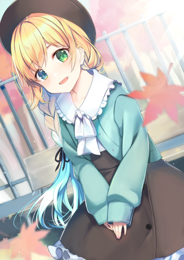 1girl :d ameshizuku_natsuki autumn_leaves bangs beret black_headwear black_skirt blonde_hair blue_hair blue_jacket blush braid collared_shirt commentary_request day dutch_angle eyebrows_visible_through_hair fingernails frilled_shirt_collar frilled_skirt frills gradient_hair green_eyes hat jacket leaf long_hair long_sleeves looking_at_viewer maple_leaf multicolored_hair nail_polish open_clothes open_jacket open_mouth original outdoors pink_nails puffy_long_sleeves puffy_sleeves railing shirt skirt sleeves_past_wrists smile solo tree very_long_hair white_shirt