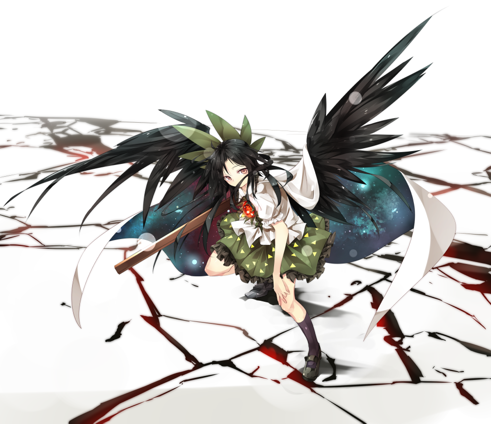 1girl black_hair black_legwear bow cape commentary_request control_rod crack frills gorilla_(bun0615) green_bow green_skirt hair_bow long_hair mismatched_footwear puffy_short_sleeves puffy_sleeves red_eyes reiuji_utsuho shirt short_sleeves skirt solo starry_sky_print third_eye touhou white_background white_shirt wings