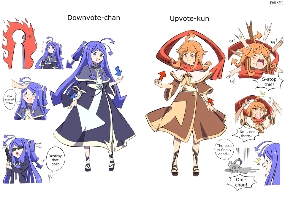 >_< 2girls ahoge arrow blue_dress blue_footwear blue_hair brown_dress brown_footwear directional_arrow dress english_text formal gun karses long_hair multiple_girls multiple_views necktie orange_hair os-tan personification petting reddit sandals speech_bubble suit sunglasses tagme weapon what white_background