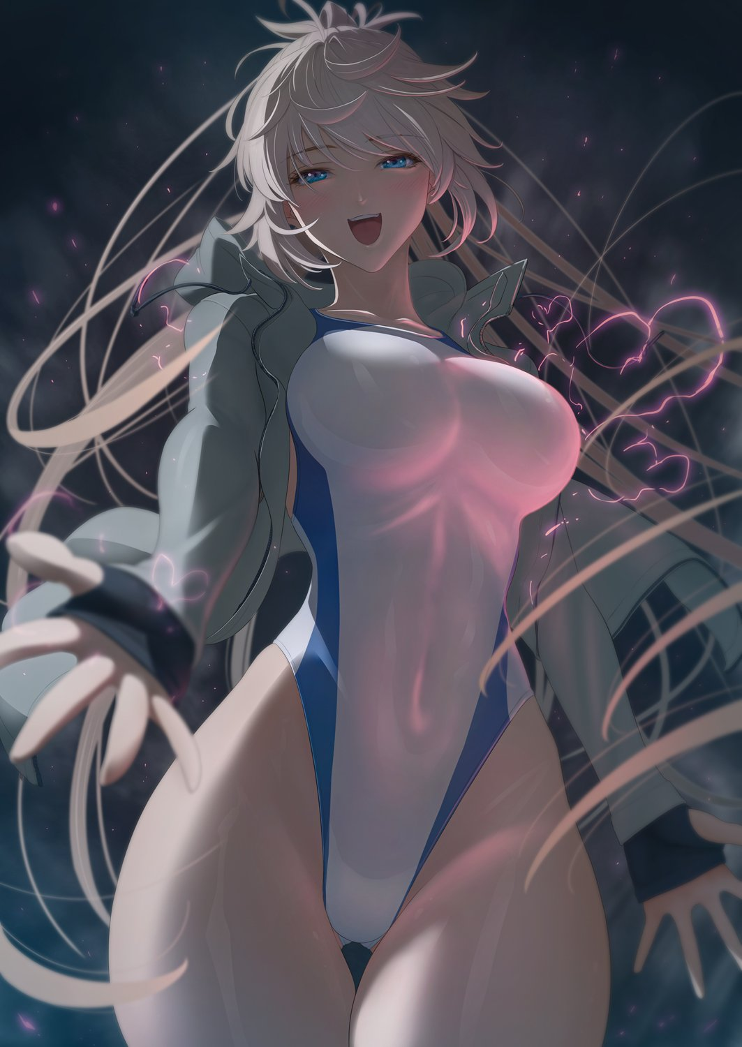 1girl :d bangs blue_eyes blue_swimsuit blush breasts competition_swimsuit cowboy_shot fate/grand_order fate_(series) floating_hair gloves grey_hair half-closed_eyes highleg highleg_swimsuit highres imizu_(nitro_unknown) jacket large_breasts lightning long_hair looking_at_viewer miyamoto_musashi_(fate/grand_order) miyamoto_musashi_(swimsuit_berserker)_(fate) one-piece_swimsuit open_clothes open_jacket open_mouth smile solo swept_bangs swimsuit tareme white_swimsuit