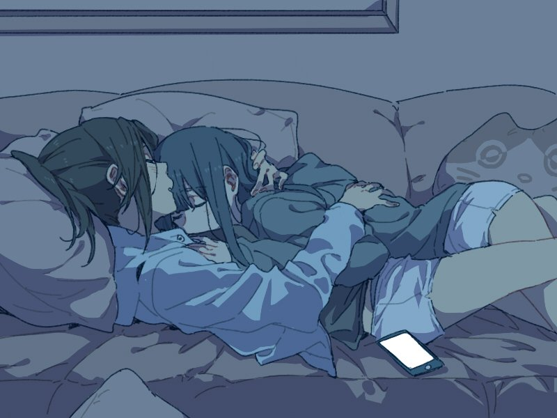 2girls bangs black_hair cat_pillow cellphone closed_eyes couch hibike!_euphonium hug kasaki_nozomi long_hair long_sleeves multiple_girls on_couch phone pillow ponytail ree_(re-19) short sleeping sleeping_on_person smartphone thighs yoroizuka_mizore yuri
