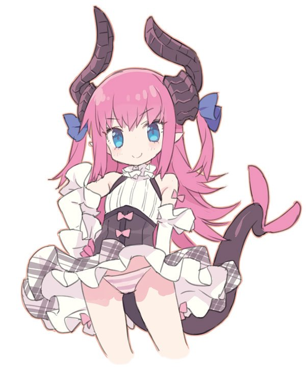 1girl bangs bare_shoulders blade_(galaxist) blue_eyes blue_ribbon blush bow closed_mouth commentary_request cropped_legs curled_horns detached_sleeves dragon_girl dragon_horns dragon_tail elizabeth_bathory_(fate) elizabeth_bathory_(fate)_(all) eyebrows_visible_through_hair fate/extra fate/extra_ccc fate_(series) grey_skirt hair_between_eyes hair_ribbon hand_on_hip horns long_hair long_sleeves panties pink_bow pink_hair pleated_skirt pointy_ears ribbon shirt simple_background skirt sleeveless sleeveless_shirt smile solo striped striped_panties tail two_side_up underwear very_long_hair white_background white_shirt white_sleeves