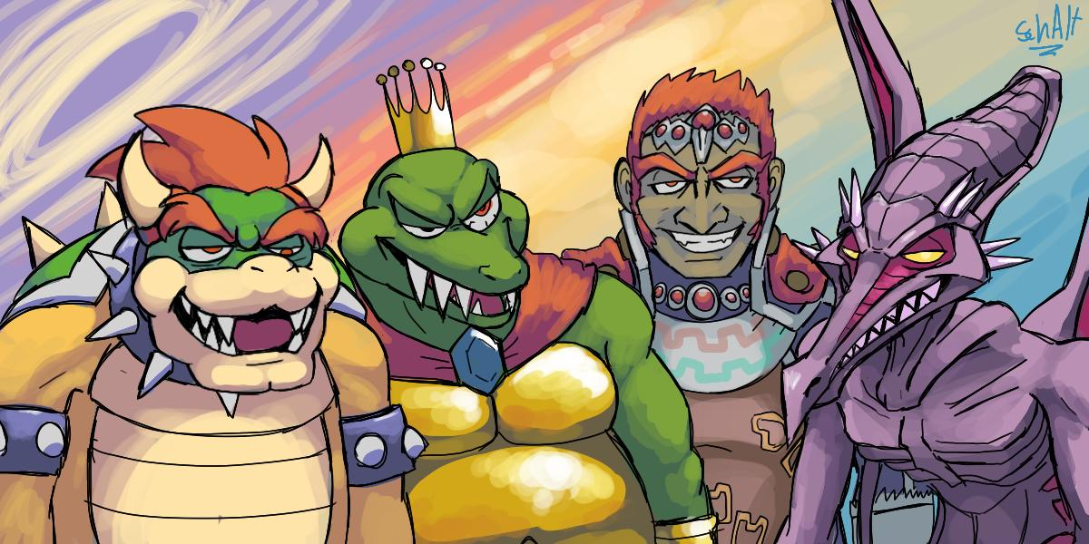 4boys alien animal bowser cape crocodilian crown dinosaur dragon eyebrows ganondorf gerudo half-closed_eyes human king_k._rool mario_(series) me_and_the_boys meme metroid monster multiple_boys nintendo nintendo_ead paon rareware redhead retro_studios ridley schalternate sky smile sora_(company) super_mario_bros. super_smash_bros. super_smash_bros_brawl super_smash_bros_crusade super_smash_bros_melee the_legend_of_zelda the_legend_of_zelda:_ocarina_of_time turtle
